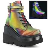 Neon arcobaleno 11,5 cm SHAKER-52 lolita stivaletti con zeppa plateau