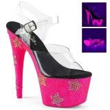 Neon pietre strass 18 cm ADORE-708STAR scarpe con tacchi da pole dance