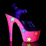 Neon scintillare 18 cm Pleaser ADORE-708STR scarpe con tacchi da pole dance