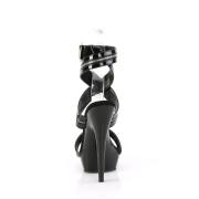 Neri sandali verniciata con plateau e tacco 15 cm SULTRY-619