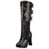 Nero 10 cm CRYPTO-302 stivali donna con fibbie e plateau alto