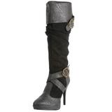 Nero 11,5 cm CARRIBEAN-216 stivali donna con fibbie e plateau alto