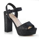 Nero 11,5 cm CELESTE-09 sandali con tacco largo e plateau glitter