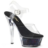 Nero 15 cm KISS-208GF scintillare plateau sandali donna con tacco