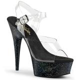 Nero 15 cm Pleaser DELIGHT-608MG scintillare sandali con tacco