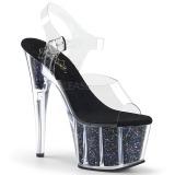 Nero 18 cm ADORE-708CG scintillare plateau sandali donna con tacco