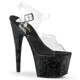 Nero 18 cm ADORE-708MG scintillare plateau sandali donna con tacco