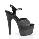 Nero 18 cm ADORE-709-2G scintillare plateau sandali donna con tacco