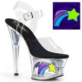 Nero 18 cm MOON-708RSS Neon plateau sandali donna con tacco