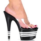Nero 18 cm Pleaser ADORE-701LN Pantofole Tacco Alto Donna