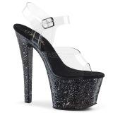 Nero 18 cm SKY-308LG scintillare plateau sandali donna con tacco