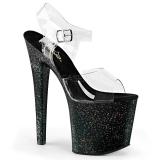Nero 19 cm TABOO-708MG scintillare plateau sandali donna con tacco