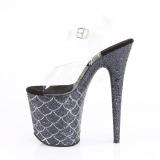 Nero 20 cm FLAMINGO-808MSLG scintillare plateau sandali donna con tacco