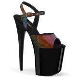 Nero 20 cm FLAMINGO-809RBDT Ologramma plateau sandali donna con tacco