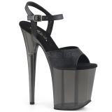 Nero 20 cm FLAMINGO-809T sandali da cubista e spogliarellista acrilico