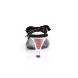 Nero 7,5 cm BELLE-301BOW Pinup scarpe ciabattine con farfallino