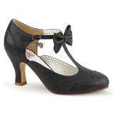 Nero 7,5 cm retro vintage FLAPPER-11 Pinup scarpe décolleté con tacchi bassi