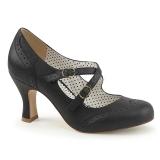 Nero 7,5 cm retro vintage FLAPPER-35 Pinup scarpe décolleté con tacchi bassi