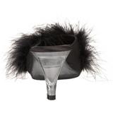 Nero 8 cm BELLE-301F piume di marabu Mules Scarpe