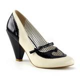 Nero 9,5 cm retro vintage POPPY-18 Pinup scarpe décolleté con tacchi bassi
