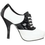Nero Bianco 11,5 cm SADDLE-48 Oxford Scarpe donna con tacco altissime