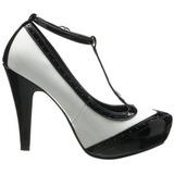 Nero Bianco 11,5 cm retro vintage BETTIE-22 Scarpe da donna con tacco altissime