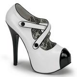 Nero Bianco 14,5 cm Burlesque TEEZE-23 Scarpe da donna con tacco altissime