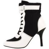 Nero Bianco 9,5 cm REFEREE-125 Stivaletti Donna Basso