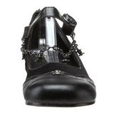 Nero DAISY-07 scarpe gotico ballerine tacco basso
