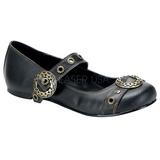 Nero DAISY-09 scarpe gotico ballerine tacco basso
