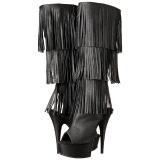 Nero Ecopelle 15 cm DELIGHT-2019-3 stivali con frange donna tacco altissime