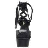 Nero Ecopelle 15 cm DELIGHT-600-14 sandali pleaser con plateau