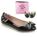 Nero IVY-09 ballerine scarpe basse donna con perle