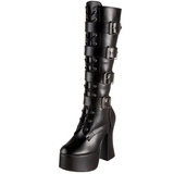 Nero Matto 12 cm SLUSH-225 Stivali Stringati Donna