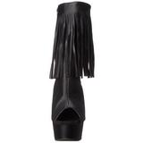 Nero Matto 15 cm DELIGHT-1019 stivaletti con frange donna tacco alto
