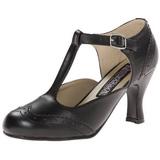 Nero Matto 7,5 cm retro vintage FLAPPER-26 scarpe décolleté con tacchi bassi