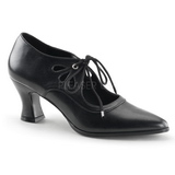 Nero Matto 7 cm retro vintage VICTORIAN-03 scarpe décolleté con tacchi bassi