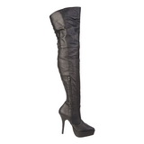 Nero Pelle 13,5 cm INDULGE-3011 stivali alti numeri grandi da uomo