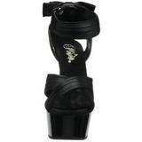 Nero Raso 15 cm DELIGHT-668 Sandali da Sera con Tacco Alto