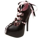 Nero Rosa 14,5 cm Burlesque TEEZE-13 Scarpe da donna con tacco altissime
