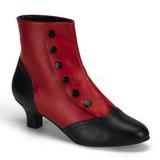 Nero Rosso 5 cm FLORA-1023 Stivaletti Donna Basso