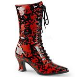 Nero Rosso 7 cm VICTORIAN-120BL Stivaletti Stringati Donna