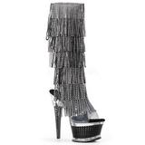 Nero Strass 16,5 cm ILLUSION-2017RSF stivali con frange donna tacco altissime