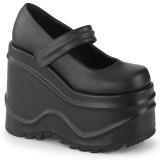 Nero Vegano 15 cm WAVE-32 scarpe décolleté mary jane zeppa plateau