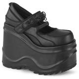 Nero Vegano 15 cm WAVE-48 scarpe décolleté mary jane zeppa plateau