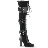 Nero Velluto 9,5 cm GLAM-300 Stivali alti e sopra al ginocchio