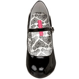 Nero Vernice 12 cm rockabilly TEMPT-35 scarpe décolleté con tacchi bassi