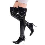 Nero Vernice 9,5 cm LUST-3000 stivali overknee tacco alto