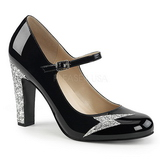 Nero Verniciata 10 cm QUEEN-02 grandi taglie scarpe décolleté