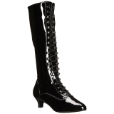 Nero Verniciata 5 cm FAB-2023 grandi taglie stivali donna